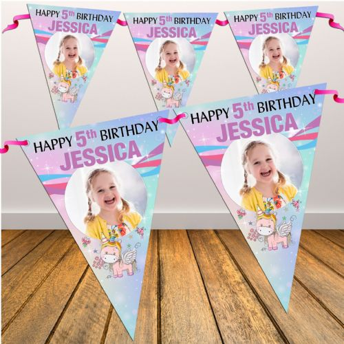 Personalised Rainbow Unicorn Happy Birthday Flag PHOTO Bunting Banner - N86 ANY AGE
